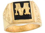 Anillo De Hombre De Lujo Con Letra Inicial M Y Onix Tamano 12x10mm En Oro (OM#5677)