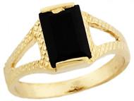 Anillo De Moda Para Bebe Con Onix Negro Rectangular En Oro Real De (OM#5751)