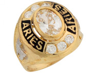 Anillo De Bebe Zodiaco De Abril Aries Con Circonita Blanca En Oro De 2 Tonos (OM#5932)