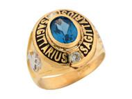 Anillo Natal Zodiaco Sagitario Con Circon Azul Simulado En Oro De 2 Tonos (OM#5952)
