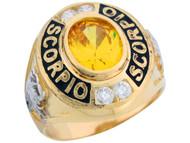 Anillo De Hombre De Zodiaco Escorpio Con Circonita Amarilla En Oro 2 Tonos (OM#5963)