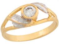 Anillo De Bebe Estilo Lagrima Con Circonita Blanca En Oro Real De Dos Tonos (OM#6018)