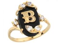 Anillo De Letra Inicial B Con Onix Y Circonita Blanca En Oro Real Amarillo (OM#6454)