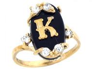Anillo De Letra Inicial K Con Onix Y Circonita Blanca En Oro Real Amarillo (OM#6463)