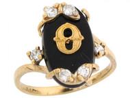Anillo De Letra Inicial O Con Onix Y Circonita Blanca En Oro Real Amarillo (OM#6467)