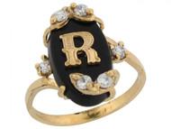 Anillo De Letra Inicial R Con Onix Y Circonita Blanca En Oro Real Amarillo (OM#6469)