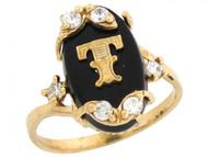 Anillo De Letra Inicial T Con Onix Y Circonita Blanca En Oro Real Amarillo (OM#6471)