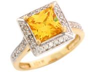 Anillo De Dama Noviembre Con Circonita Amarilla Y Blanca En Oro De 2 Tonos (OM#7182)