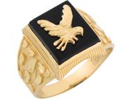 Anillo Diamantado Para Hombre Onix Y Aguila En Vuelo Estilo Pepita De Oro De (OM#8296)