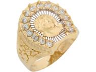 Anillo Diamantado De Hombre Rostro De Jesus Y Circonita En Oro 2 Tonos De (OM#8298)