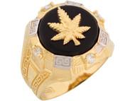 Anillo De Hombre Con Onix Circonita Y Marijuana Canabis En Oro De 2 Tonos (OM#8352)