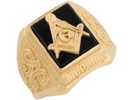 Anillo De Hombre Con Nudo Intricado Onix Y Emblema De Francmason En Oro De (OM#8426)