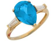 Anillo De Lujo Para Dama De Marzo Con Aguamarina Simulada Y Circonita En Oro (OM#8791)