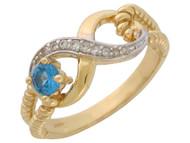 Anillo De Diciembre Diseno Infinito Con Circon Azul Simulado Y Circonita En Oro (OM#9340)