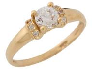 Anillo Clasico De Compromiso Para Dama Con Circonita Blanca Radiante En Oro (OM#9451)