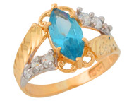 Anillo De Dama Diamantado Antiguo Aguamarina Simulada En Oro De 2 Tonos (OM#9551)