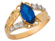 Anillo De Dama Diamantado Estilo Antiguo Zafiro Simulado En Oro De 2 Tonos (OM#9551)