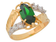 Anillo De Dama Diamantado Estilo Antiguo Esmeralda Simulada Oro De 2 Tonos (OM#9551)
