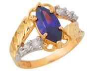 Anillo De Dama Diamantado Estilo Antiguo Amatista Simulada Oro De 2 Tonos (OM#9551)