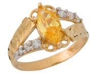 Anillo De Dama Diamantado Estilo Antiguo Topacio Simulado Oro De 2 Tonos (OM#9551)
