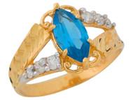 Anillo De Dama Diamantado Estilo Antiguo Circon Simulado En Oro De 2 Tonos (OM#9551)