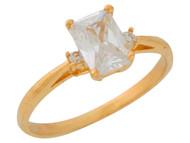 Anillo De Dama Estilo Clasico Con Circonita Blanca En Oro De Amarillo (OM#9555)