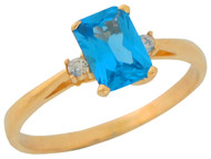 Anillo De Dama Estilo Clasico Circon Azul Simulado Y Circonita En Oro De (OM#9555)