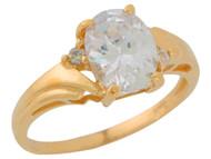 Anillo De Dama Estilo Antiguo Con Circonita Blanca En Oro De Amarillo (OM#9556)