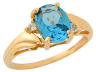 Anillo De Dama Estilo Antiguo Circon Azul Simulado Y Circonita En Oro De (OM#9556)