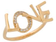 Anillo De Dama De Aro Delgado Con Frase Love Con Diamantes Reales En Oro De (OM#9562)