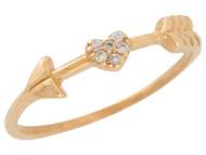 Anillo De Dama De Aro Delgado Estilo Flecha Con Diamantes Reales En Oro De (OM#9563)