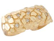 Anillo Diamantado De Dos Dedos Estilo Pepita De Oro Con Circonita En Oro De (OM#9588)