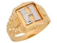 Anillo De Hombre Con Inicial H Estilo Antiguo Y Filigrana En Oro De 2 Tonos (OM#9708)