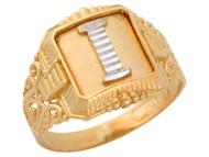 Anillo De Hombre Con Inicial I Estilo Antiguo Y Filigrana En Oro De 2 Tonos (OM#9709)