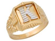 Anillo De Hombre Con Inicial K Estilo Antiguo Y Filigrana En Oro De 2 Tonos (OM#9711)