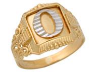 Anillo De Hombre Con Inicial O Estilo Antiguo Y Filigrana En Oro De 2 Tonos (OM#9715)