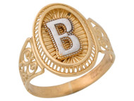 Anillo De Filigrana Ovalo Radiante De Dama Con Inicial B En Oro De Dos Tonos (OM#9770)