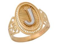 Anillo De Filigrana Ovalo Radiante De Dama Con Inicial J En Oro De Dos Tonos (OM#9778)