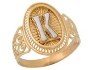 Anillo De Filigrana Ovalo Radiante De Dama Con Inicial K En Oro De Dos Tonos (OM#9779)