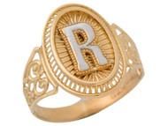 Anillo De Filigrana Ovalo Radiante De Dama Con Inicial R En Oro De Dos Tonos (OM#9786)