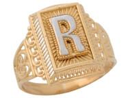 Anillo De Filigrana Rectangular Radiante De Dama Inicial R En Oro De 2 Tonos (OM#9812)
