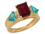 Anillo De Lujo Para Dama Con Granate Topacio Azul Y Diamantes Reales En Oro (OM#9905)