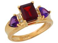 Anillo De Lujo Para Dama Con Granate Amatista Y Diamantes Genuinos En Oro (OM#9905)