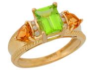 Anillo De Lujo Para Dama Con Peridoto Citrino Y Diamantes Genuinos En Oro (OM#9906)