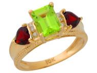 Anillo De Lujo Para Dama Con Peridoto Granate Y Diamantes Genuinos En Oro (OM#9906)