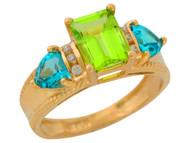 Anillo De Lujo Para Dama Con Peridoto Topacio Azul Y Diamantes Reales En Oro (OM#9906)