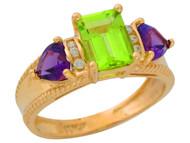 Anillo De Lujo Para Dama Con Peridoto Amatista Y Diamantes Genuinos En Oro (OM#9906)