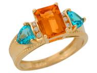 Anillo De Lujo Para Dama Con Citrino Topacio Azul Y Diamantes Reales En Oro (OM#9907)