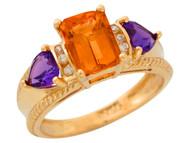 Anillo De Lujo Para Dama Con Citrino Amatista Y Diamantes Genuinos En Oro (OM#9907)