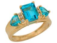 Anillo De Lujo Para Dama Con Topacio Azul Y Diamantes Genuinos En Oro De (OM#9908)